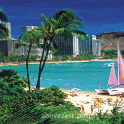 Visit sun-kissed beaches, beautiful scenery, tropical breezes, swaying palms, and Diamond Head mountain